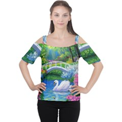 Swan Bird Spring Flowers Trees Lake Pond Landscape Original Aceo Painting Art Women s Cutout Shoulder Tee by Amaryn4rt