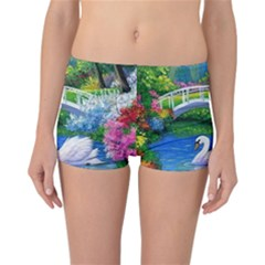 Swan Bird Spring Flowers Trees Lake Pond Landscape Original Aceo Painting Art Reversible Bikini Bottoms by Amaryn4rt