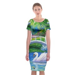 Swan Bird Spring Flowers Trees Lake Pond Landscape Original Aceo Painting Art Classic Short Sleeve Midi Dress