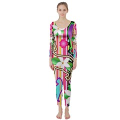 Mandalas, Cats And Flowers Fantasy Digital Patchwork Long Sleeve Catsuit by BluedarkArt