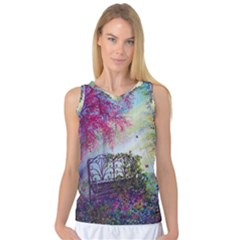 Bench In Spring Forest Women s Basketball Tank Top