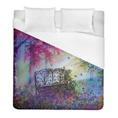 Bench In Spring Forest Duvet Cover (full/ Double Size) by Amaryn4rt