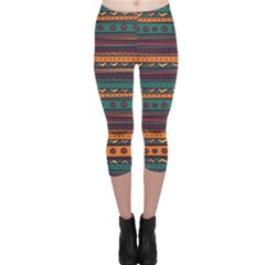 Ethnic Style Tribal Patterns Graphics Vector Capri Leggings  by Amaryn4rt