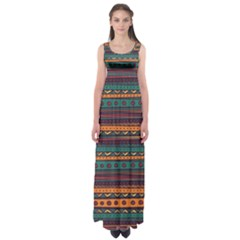 Ethnic Style Tribal Patterns Graphics Vector Empire Waist Maxi Dress by Amaryn4rt