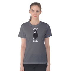 grey lazy cat  Women s Cotton Tee by FunnySaying