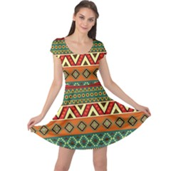 Mexican Folk Art Patterns Cap Sleeve Dresses by Amaryn4rt