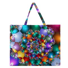 Rainbow Spiral Beads Zipper Large Tote Bag by WolfepawFractals