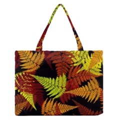 3d Red Abstract Fern Leaf Pattern Medium Zipper Tote Bag by Amaryn4rt