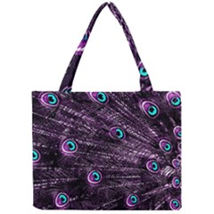 Bird Color Purple Passion Peacock Beautiful Mini Tote Bag by Amaryn4rt
