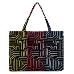 Circuit Board Seamless Patterns Set Medium Zipper Tote Bag