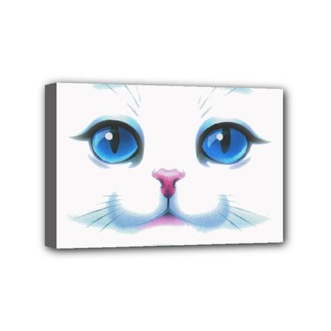 Cute White Cat Blue Eyes Face Mini Canvas 6  X 4  by Amaryn4rt