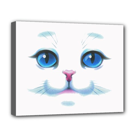 Cute White Cat Blue Eyes Face Deluxe Canvas 20  X 16   by Amaryn4rt