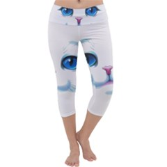 Cute White Cat Blue Eyes Face Capri Yoga Leggings by Amaryn4rt