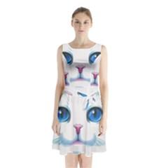 Cute White Cat Blue Eyes Face Sleeveless Chiffon Waist Tie Dress by Amaryn4rt