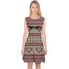 Stitched Seamless Pattern With Silhouette Of Heart Capsleeve Midi Dress by Amaryn4rt
