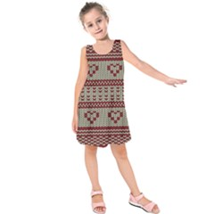 Stitched Seamless Pattern With Silhouette Of Heart Kids  Sleeveless Dress