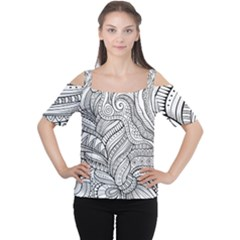Zentangle Art Patterns Women s Cutout Shoulder Tee