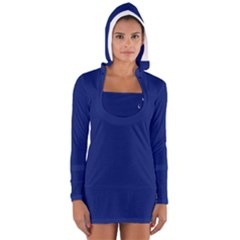 Bubbles Circle Blue Women s Long Sleeve Hooded T-shirt by Alisyart