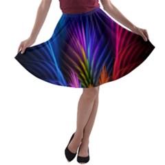 Bird Feathers Rainbow Color Pink Purple Blue Orange Gold A Line Skater Skirt by Alisyart