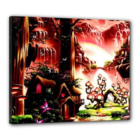 Fantasy Art Story Lodge Girl Rabbits Flowers Canvas 24  X 20  by Onesevenart