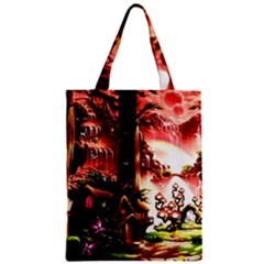 Fantasy Art Story Lodge Girl Rabbits Flowers Zipper Classic Tote Bag by Onesevenart