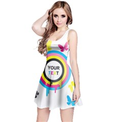 Colorful Butterfly Rainbow Circle Animals Fly Pink Yellow Black Blue Text Reversible Sleeveless Dress by Alisyart