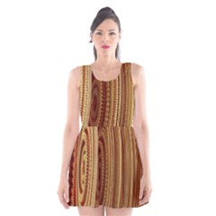Circles Figure Light Gold Scoop Neck Skater Dress by Alisyart
