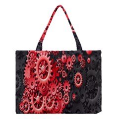 Gold Wheels Red Black Medium Tote Bag by Alisyart