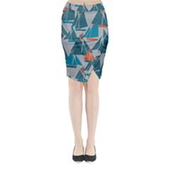 Ship Sea Blue Midi Wrap Pencil Skirt by Alisyart
