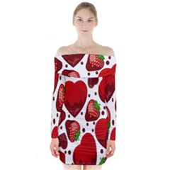 Strawberry Hearts Cocolate Love Valentine Pink Fruit Red Long Sleeve Off Shoulder Dress by Alisyart