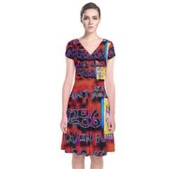 Big Red Sun Walin 72 Short Sleeve Front Wrap Dress by MRTACPANS