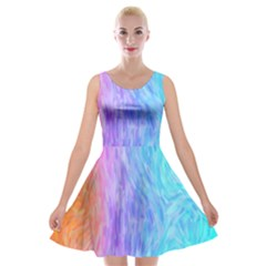 Abstract Color Pattern Textures Colouring Velvet Skater Dress by Simbadda