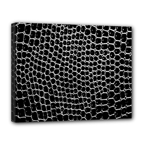 Black White Crocodile Background Canvas 14  X 11  by Simbadda