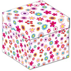Colorful Floral Flowers Pattern Storage Stool 12   by Simbadda