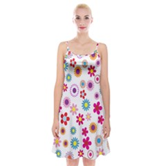 Colorful Floral Flowers Pattern Spaghetti Strap Velvet Dress