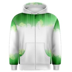 Green Floral Stripe Background Men s Zipper Hoodie by Simbadda