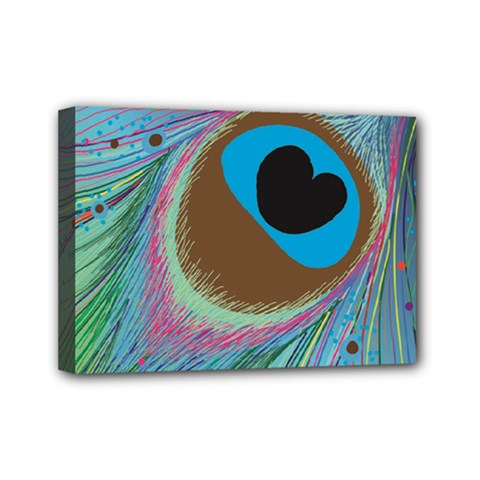 Peacock Feather Lines Background Mini Canvas 7  X 5  by Simbadda