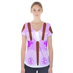 Butterfly Flower Valentine Animals Purple Brown Short Sleeve Front Detail Top by Alisyart