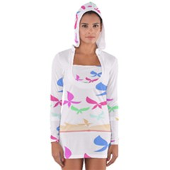 Colorful Butterfly Blue Red Pink Brown Fly Leaf Animals Women s Long Sleeve Hooded T Shirt by Alisyart