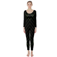 Diamond Green Triangle Line Black Chevron Wave Long Sleeve Catsuit by Alisyart
