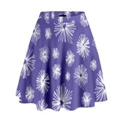 Aztec Lilac Love Lies Flower Blue High Waist Skirt by Alisyart