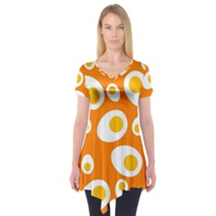Orange Circle Egg Short Sleeve Tunic  by Alisyart