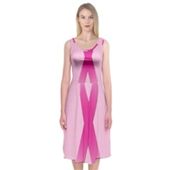 Pink Breast Cancer Symptoms Sign Midi Sleeveless Dress
