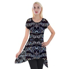 Black Diamonds Short Sleeve Side Drop Tunic