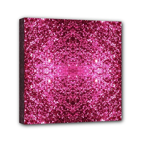 Pink Glitter Mini Canvas 6  X 6  by boho