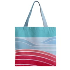 Wave Waves Blue Red Grocery Tote Bag by Alisyart