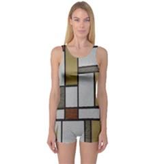 Fabric Textures Fabric Texture Vintage Blocks Rectangle Pattern One Piece Boyleg Swimsuit by Simbadda