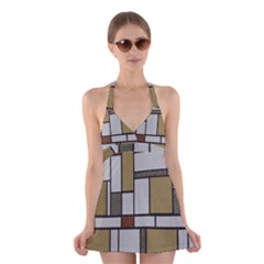 Fabric Textures Fabric Texture Vintage Blocks Rectangle Pattern Halter Swimsuit Dress by Simbadda