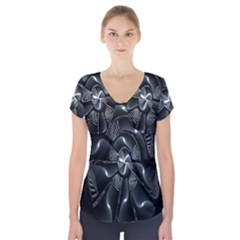 Fractal Disk Texture Black White Spiral Circle Abstract Tech Technologic Short Sleeve Front Detail Top