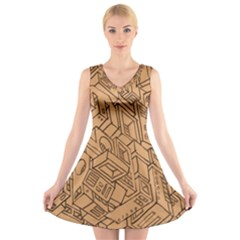 Mechanical Tech Pattern V Neck Sleeveless Skater Dress